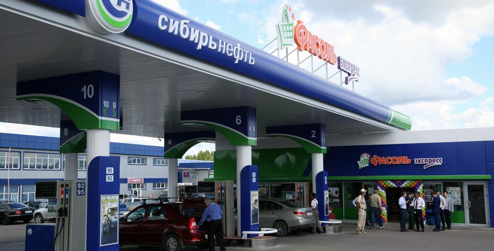 Автоматическая дверь на АЗС Сибирьнефть в д. Брехово